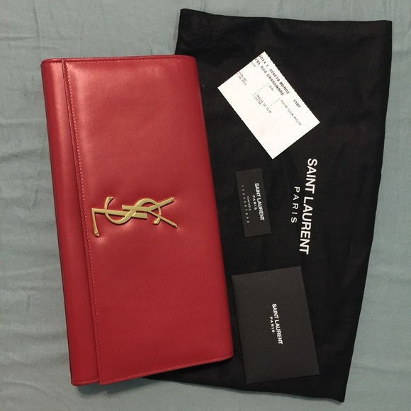 yves saint laurent tote - yves saint laurent lutetia red grained leather clutch, yves saint ...