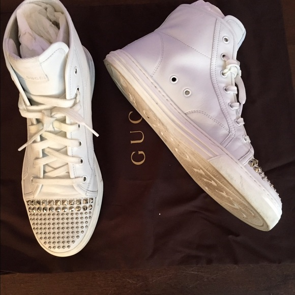 54 gucci shoes gucci studded sneakers from