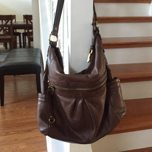 ba508d9d58 Fossil Handbags - Fossil leather slouch hobo bag
