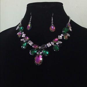 Rainbow Austrian crystal necklace set