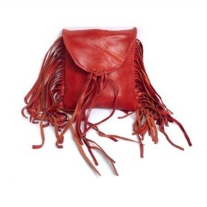 Vtg Genuine Leather Fringe Tan Belt Bag Fanny Pack