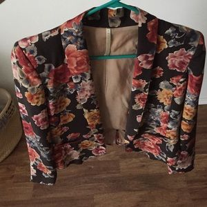 Truth and pride silk floral blazer