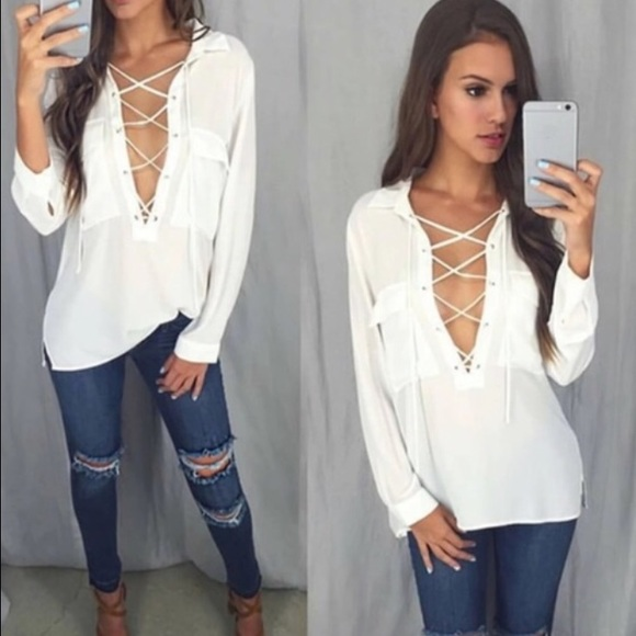 2fbe5c0c731319 Tops | Sexy White Vneck Lace Up Blouseflash Sale | Poshmark