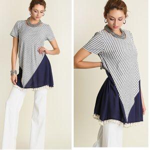 •striped tassel trim tunic•