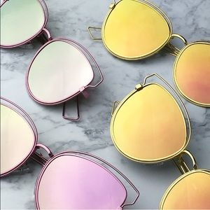 Pink gold mirrored sunglasses trendy aviators bar