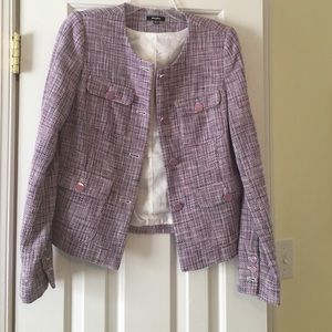 HOST PICK lavender collarless tweed blazer