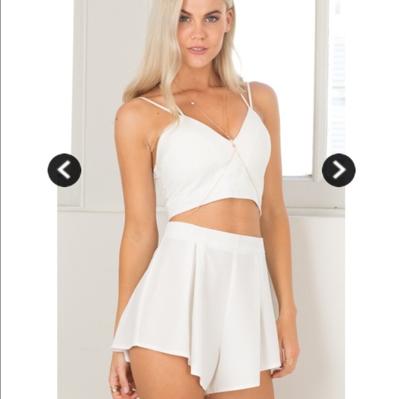 30% off Other - White two piece set- crop top and flowy shorts ...