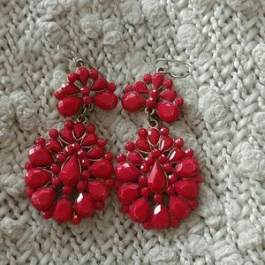 Jewelry - Coral Beaded Statement Earrings