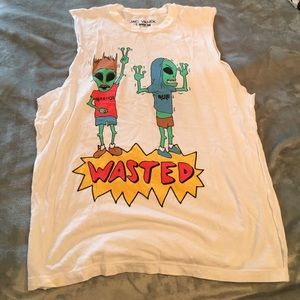 Jac Vanek Tops - Jac vanek muscle t shirt beavis and butthead alien