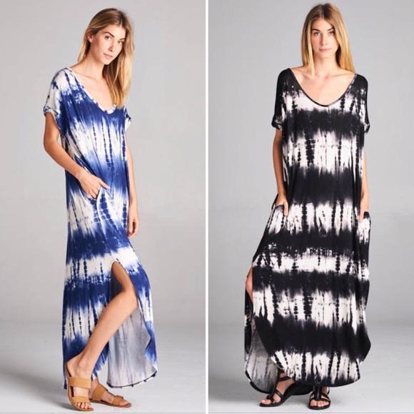 Dresses Black Tie Dye Loose Oversized Maxi Dress Poshmark