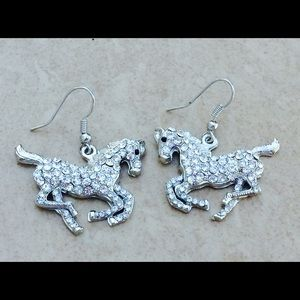 Jewelry - Silver Tone Crystal Galloping Horse Drop Earrings