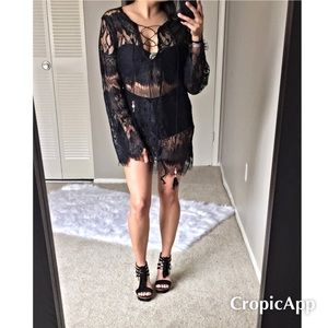 Dresses & Skirts - Closet Clear out💥 Black eyelash lace cover-up