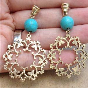 Jewelry - Gold Tone Turquoise Filigree Drop Earrings