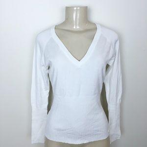 MANGO long sleeve white knit sweater v-neck top
