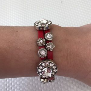 Jewelry - Red Circle rhinestone Leather Bracelet.