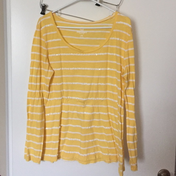 58% off Old Navy Tops - Yellow and white striped shirt from ...
