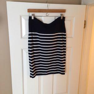Navy and white stripe midi skirt by Gap