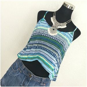 Mimi Chica Tops - Mimi Chica Tribal Blue Green Hi Lo Cropped Top NWT