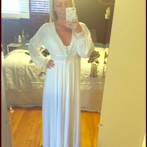 Vintage Night Gown Dress with Long Sleeve Cover Up
