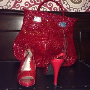 Red heel and purse combo
