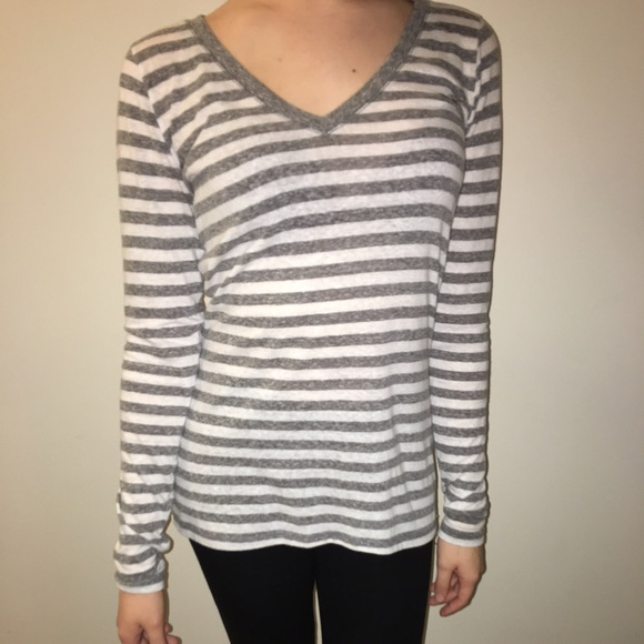 3d62efdb2e Hollister Tops | Gray And White Long Sleeve Striped Shirt | Poshmark