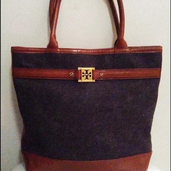 5f354f82f8c6 ✨✨Tory Burch Jaden wool and leather tote. M 56febcf64e8d17a19d0077b6