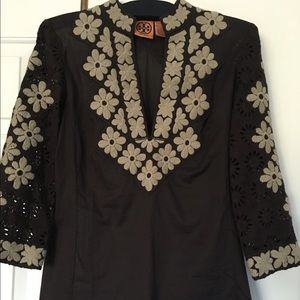 Tory Burch embroidered cotton tunic.