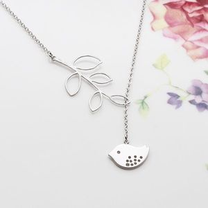 Silver Bird Charm Necklace with Branch Connector