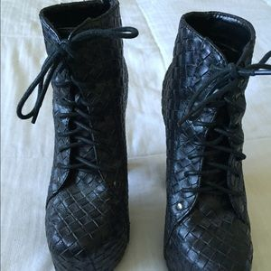 Black woven booties