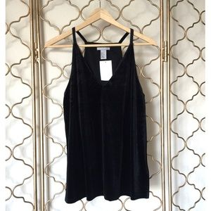 H&M Black Velour Tank Top