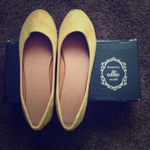 Ollio Shoes - Ollio Suede Yellow Summer Flats