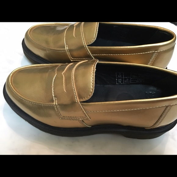 28b802db364 Dr. Marten Shoes - Dr. Martens ABBY gold patent leather penny loafer