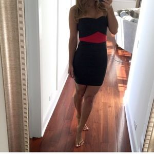 Pleasure Doing Business Dresses - strapless black and red dress