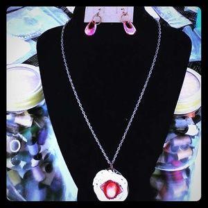 Vintage repurposed handmade necklace and earrings.