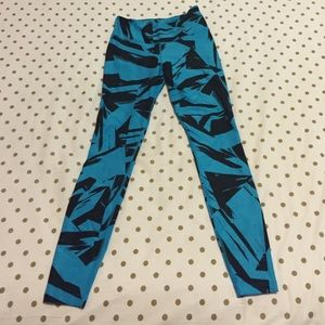 Blue and Black Dri-Fit Nike Leggings