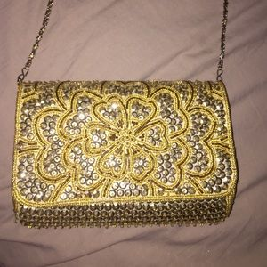 Small Gold Bedazzled purse/clutch