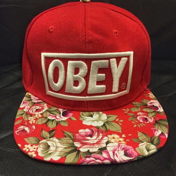 Obey Red Floral Snapback Hat. M 56f60835f739bca178018a4f 2a30d052d0b4