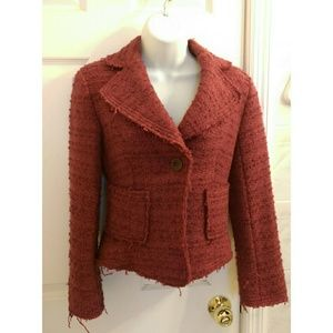 Zara red tweed jacket