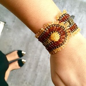 Jewelry - Brown Beaded Cuff Bracelet