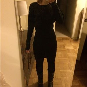 Black long sleeve sequined mini dress