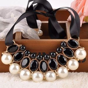Pearl Statement Necklace on Ribbon