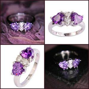 💜Amethyst & Topaz silver heart ring