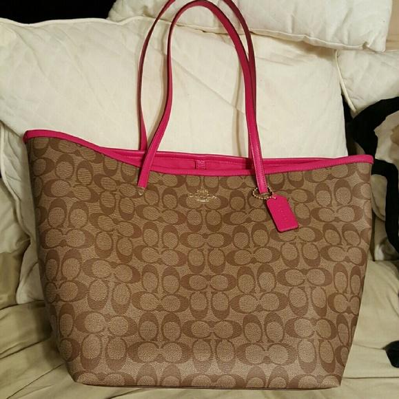 a481c0ba1156 Coach Handbags - Coach Signature Large Taxi Tote Khaki   Pink Ruby