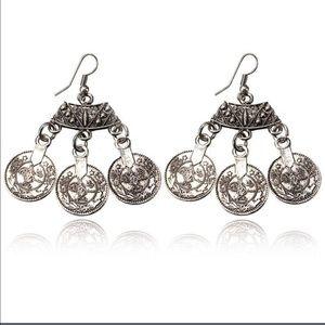 Jewelry - Bohemian Style Silver Coin Hippie Boho Earrings