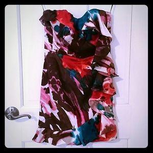 Express strapless watercolor dress w/ side ruffles