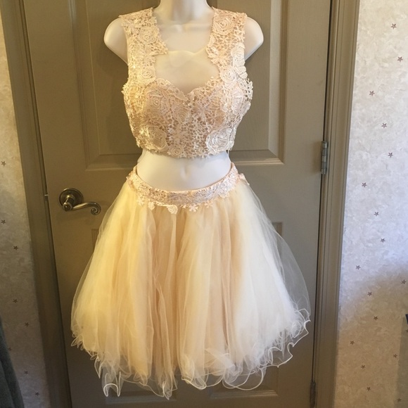 Dresses | Prom Dress 2 Piece Nude Color Xs | Poshmark