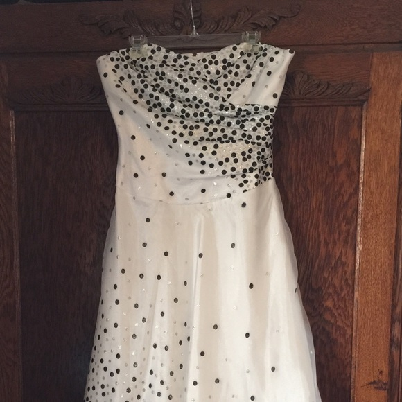 Retro Chic Black White Silver Polka Dot Gown
