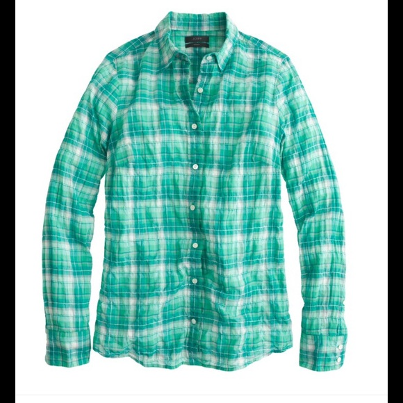 J Crew J Crew Crinkle Plaid Green Button Down Shirt S