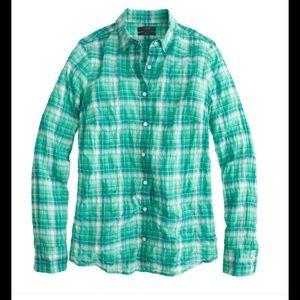 J. Crew crinkle plaid green button down shirt s 2
