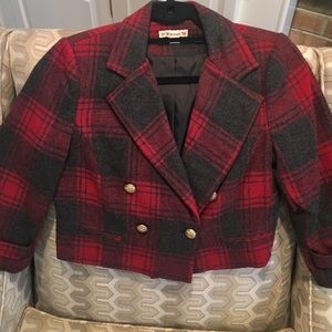 Forever21 red plaid cropped jacket